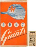 Baseball Collectibles:Tickets, 1957 New York Giants Final Polo Grounds Game Ticket Stub &Program. ...