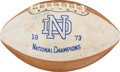 Football Collectibles:Balls, 1973 University of Notre Dame Team Signed Championship Football....