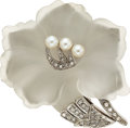 Estate Jewelry:Brooches - Pins, Frosted Rock Crystal Quartz, Cultured Pearl, Diamond, White Gold Clip-Brooch. ...