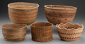 American Indian Art:Baskets, FIVE NORTHWEST COAST TWINED BASKETS... (Total: 5 Items)
