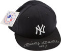 Baseball Collectibles:Hats, 1990's Mickey Mantle Signed New York Yankees UDA Cap. ...