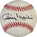 Autographs:Baseballs, Late 1980's Billy Martin Single Signed Baseball....