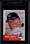 Baseball Cards:Singles (1970-Now), 1991 53 Topps Archives Mickey Mantle #82 Signed Baseball Card....