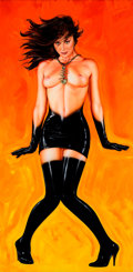 Pin-up and Glamour Art, OLIVIA DE BERARDINIS (American, b. 1948). Boomerang, 1988.Acrylic on canvas. 72 x 36 in.. Signed and dated verso. ...