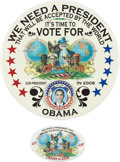 Political:Pinback Buttons (1896-present), Barack Obama: Two Beautiful Limited-edition 2008 Buttons.... (Total: 2 Items)