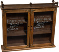 Advertising:Tobacciana, Wall-mounted Oak Imperial Cigar Store Display Case....