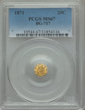 California Fractional Gold , 1871 25C Liberty Octagonal 25 Cents, BG-717, R.3, MS67 PCGS....