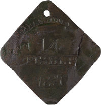 1817 Charleston FISHER Slave Hire Badge, Number 14