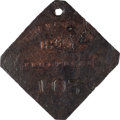 Antiques:Black Americana, 1849 Charleston FRUITERER Slave Hire Badge, Number 103. ...