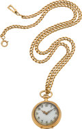 Timepieces:Pendant , Patek Philippe Fancy Dial 14k Pendant Watch & Gold Neck Chain. ...