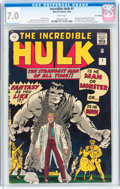 Silver Age (1956-1969):Superhero, The Incredible Hulk #1 UK Edition (Marvel, 1962) CGC FN/VF 7.0 White pages....