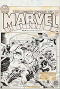 Original Comic Art:Covers, Rich Buckler and Mike Esposito Mighty World of Marvel #35Hulk and Fantastic Four Cover Original Art (Marvel UK, 1...