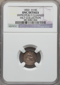 Seated Half Dimes, 1850 H10C -- Improperly Cleaned -- NGC Details. Unc. Ex: Hilt Collection. NGC Census: (1/187). PCGS Population (1/152). Min...