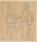 Texas:Early Texas Art - Drawings & Prints, RICHARD PETRI (German/American, 1824-1857). Study of Indian Girland Woman. Pencil on paper. 8 x 7 inches (20.3 x 17.8 c...