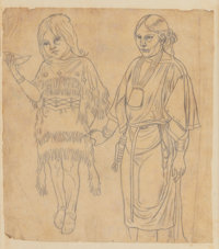 RICHARD PETRI (German/American, 1824-1857) Study of Indian Girl and Woman Pencil on paper 8 x 7 i