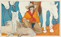 DONNA HOWELL-SICKLES (American, 1949-) Woman with Horses and Dogs, 1992 Ink and acrylic on canvas la