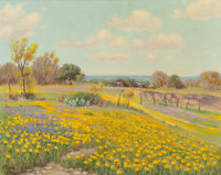 VIVEANO LOPEZ (American, 1906-1983) Blossoming Texas, 1950 Oil on canvas laid on masonite 16 x 20