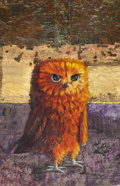 Texas:Early Texas Art - Modernists, KELLY FEARING (American, 1918-2011). Orange and Yellow Owl in aMysterious Landscape That Only Could Have Been Brought Abo...
