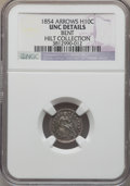 Seated Half Dimes, 1854 H10C Arrows -- Bent -- NGC Details. Unc. Ex: Hilt Collection. NGC Census: (2/442). PCGS Population (4/318). Mintage: 5...