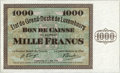 Luxembourg, Luxembourg: Kassenschein 1000 Francs 1-9-1939,...