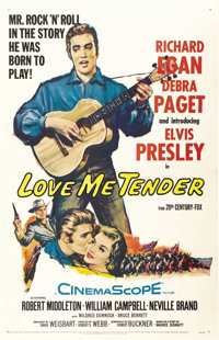 "Love Me Tender (20th Century Fox, 1956). One Sheet (27"" X 41"")"