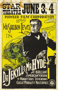 """Dr. Jekyll and Mr. Hyde (Pioneer, 1920). Window Card (14"""" X 22"""")"""