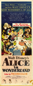 "Movie Posters:Animated, Alice in Wonderland (RKO, 1951). Insert (14"" X 36""). ..."