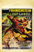 "Movie Posters:Horror, Frankenstein Meets the Wolf Man (Universal, 1940s). Post-WarBelgian (15.5"" X 23.5""). ..."