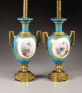 Decorative Arts, French:Lamps & Lighting, A Pair of French Porcelain Vases Mounted as Lamps. Unknown maker,France. Circa 1900. Porcelain with polychrome enamel and... (Total:2 Items)