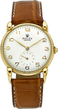 Timepieces:Wristwatch, Rolex Ref. 4332 Very Fine 18k Gold Watch With Unusual Lugs. ...