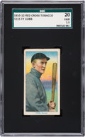 Baseball Cards:Singles (Pre-1930), 1912-13 T215 Red Cross - Type 2 Ty Cobb SGC 20 Fair 1.5 - OnlyThree Graded Examples! ...
