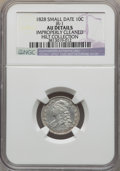 Bust Dimes, 1828 10C Small Date, JR-1, R.2, -- Improperly Cleaned -- NGCDetails. AU. Ex: Hilt Collection. NGC Census: (0/34). PCGS Po...