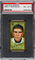 Baseball Cards:Singles (Pre-1930), 1911 T205 Hassan Fred Snodgrass PSA NM-MT 8 - The Highest Graded Example! . ...