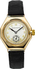 Timepieces:Wristwatch, Rolex Early Ref. 2136 Gold Octagonal Wristwatch, circa 1930's. ...