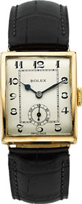 Timepieces:Wristwatch, Rolex Ref. 322 Vintage Gold Rectangular Wristwatch, circa 1930. ...