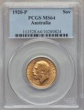 Australia, Australia: George V gold Sovereign 1920-P MS64 PCGS,...