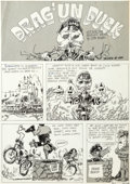 "Original Comic Art:Complete Story, Jon Dalhstrom Drag Cartoons ""Drag'un Duck"" Complete 3-PageStory Original Art (Pete Millar Publishing, c. 1960s).... (Total: 3Original Art)"