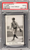 Baseball Cards:Singles (Pre-1930), 1922 Gassler's Bread Ty Cobb PSA Good 2 - The Only Graded Example!...