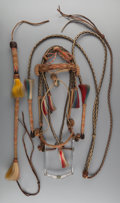 American Indian Art:Pipes, Tools, and Weapons, A NATIVE-MADE HORSEHAIR BRIDLE, QUIRT, AND REINS. c. 1900...(Total: 3 Items)