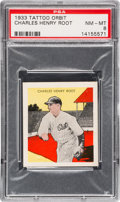 Baseball Cards:Singles (1930-1939), 1933 R305 Tattoo Orbit Charles Root PSA NM-MT 8 - The Finest PSA Example! ...