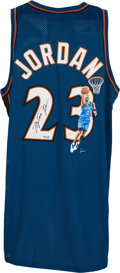 Basketball Collectibles:Uniforms, Early 2000's Michael Jordan Signed Hand-Painted Washington WizardsJersey....