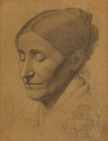Texas:Early Texas Art - Drawings & Prints, RICHARD PETRI (German/American, 1824-1857). Sketch of theArtist's Mother, 1842. Pencil on paper laid on wood. 14 x 11i...