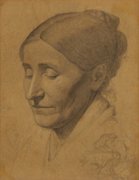 RICHARD PETRI (German/American, 1824-1857) Sketch of the Artist's Mother, 1842 Pencil on paper laid