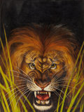 Pulp, Pulp-like, Digests, and Paperback Art, MAURICE L. BOWER (American, 1889-1980). King of the Jungle,Safari magazine, August 1956. Oil on canvas. 24 x 18 in.. Si...
