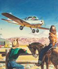 Mainstream Illustration, REN WICKS (American, 1911-1998). Com-in for a Landing, Skywaysmagazine interior illustration, early 1950s. Gouache on b...
