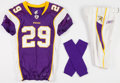 Football Collectibles:Uniforms, 2010 Chester Taylor Game Worn, Unwashed Minnesota Vikings Jersey, Pants and Socks - Worn 1/17 Vs. Dallas....