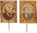 Political:Ferrotypes / Photo Badges (pre-1896), Hayes & Wheeler and Tilden & Hendricks: Gem JugateStickpins.... (Total: 2 Items)