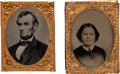 Political:Ferrotypes / Photo Badges (pre-1896), Abraham and Mary Todd Lincoln: Gem Ferrotypes.... (Total: 2 Items)