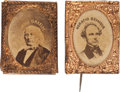 Political:Ferrotypes / Photo Badges (pre-1896), Horace Greeley and Horatio Seymour: Gem Badges.... (Total: 2 Items)