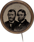 Political:Ferrotypes / Photo Badges (pre-1896), Grant & Colfax: Large Ferrotype Jugate Stickpin....